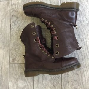 Dr.Dr Doc Martens Aimilie 9-Eye Oxblood Leather Fold-Down Boot Sz 6 NEW